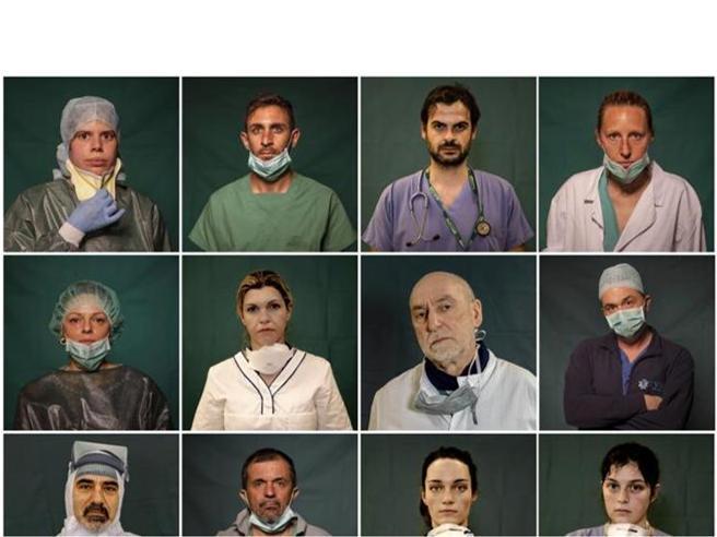 I volti dei medici e delle infermiere  in prima linea nella lotta al Covid-19