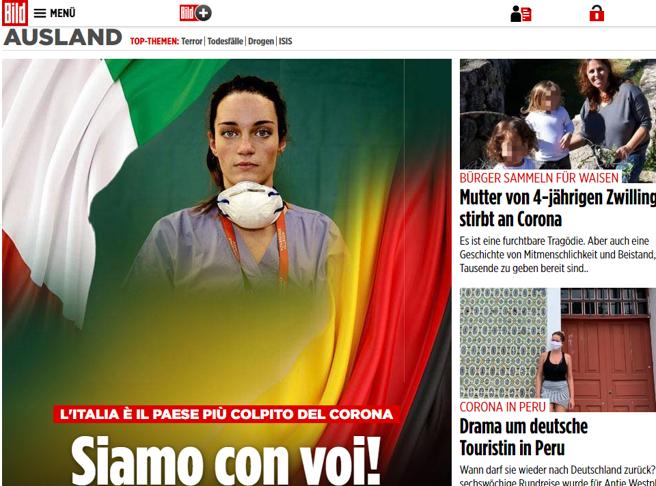 «Siamo con voi». La pagina (ipocrita) della Bild sull'Italia e la lotta al virus