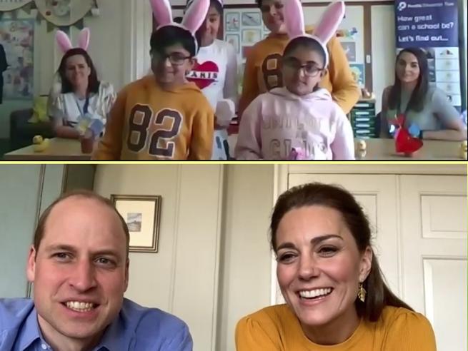 Scuole aperte per i figli dei lavoratori essenziali: la visita (virtuale) di William e Kate