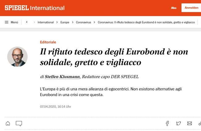 Coronabond, il no tedesco «è gretto e vigliacco»: l'editoria
