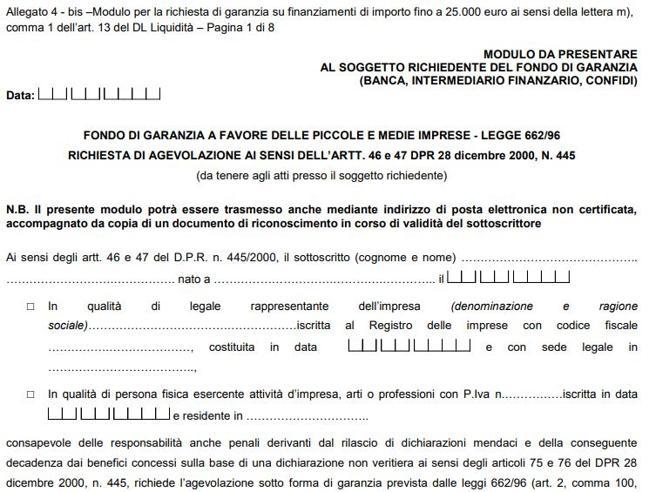 Aiuti alle pmi, ecco il  moduloper i prestiti da 25 mila euro dal fondo di garanzia