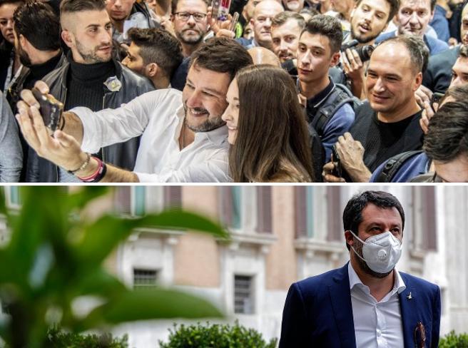 Salvini e il coronavirus, piazze vuote e niente selfie: e se il calo della Lega fosse dovuto al lockdown?