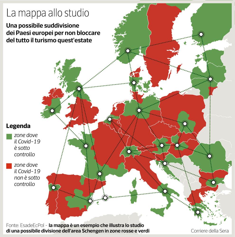 Cartina Italia Con Legenda.Zone Rosse E Verdi In Europa La Mappa Allo Studio Per Il Coronavirus Corriere It