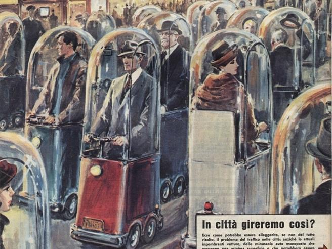 """""""O să mergem prin oraș așa?"""": Coperta Domenicii del Corriere din 1962 care anticipează mobilitatea de astăzi"""