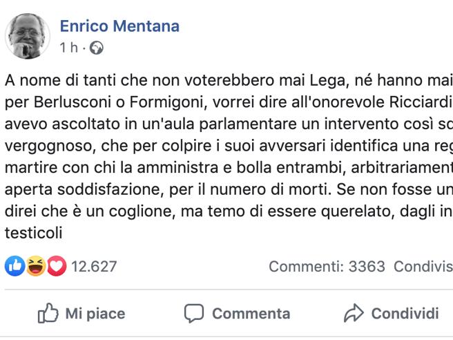 Enrico Mentana contro il deputato 5S Ricciardi: «Mai visto un intervento così squallido e vergognoso»