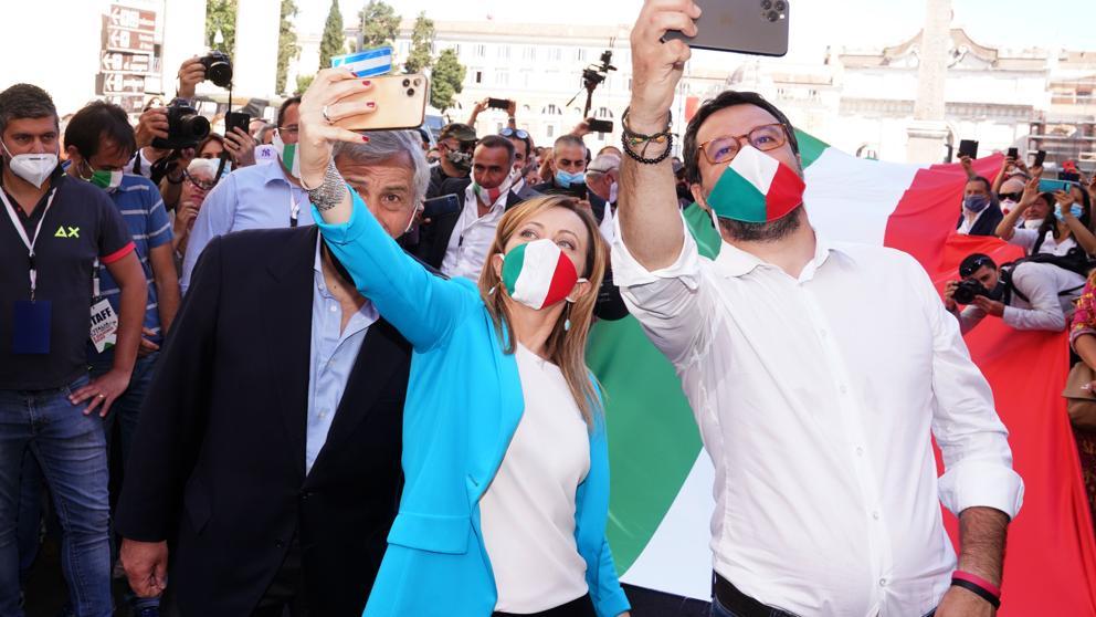 Da destra Matteo Salvini, Giorgia Meloni, Antonio Tajani (Livio Anticoli/Imagoeconomica)