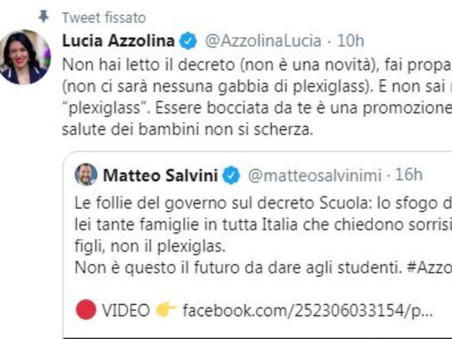 Plexiglass o plexiglas? Azzolina prova a bacchettare Salvini, ma il leghista ha ragione