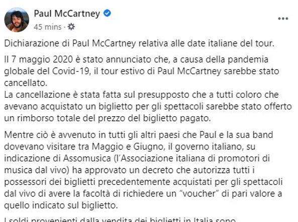 Paul McCartney si arrabbia. In Italiano: «È uno scandalo che i miei concerti di Napoli e Lucca non vengano rimborsati in denaro»