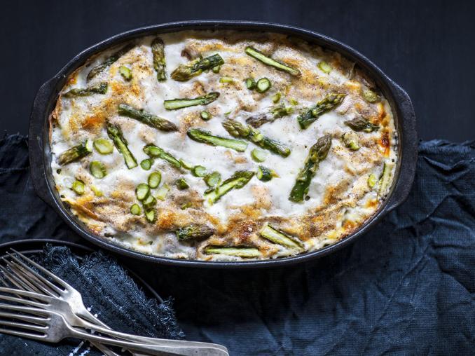 Lasagne con asparagi e fiordilatte