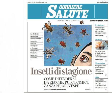 Sul Corriere Salute: zanzare, api, vespe, come evitare che ci rovinino l'estate