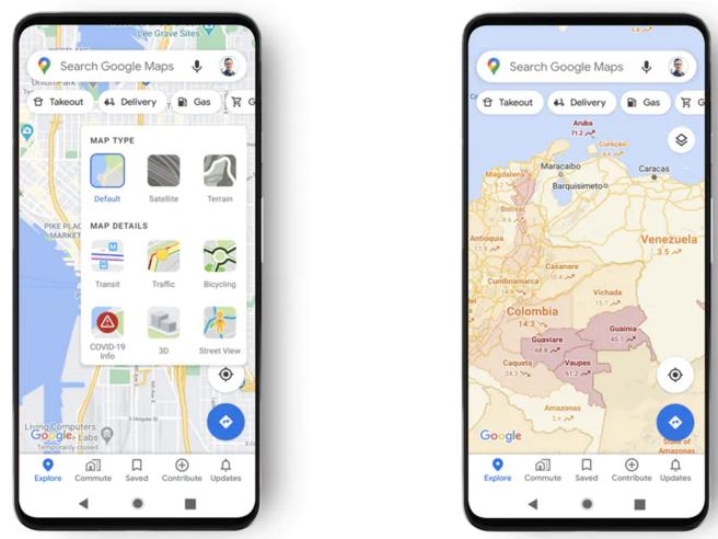 Google Maps e Covid-19, l'app ora indica il livello di contagio di ogni area