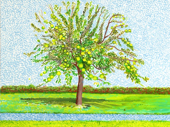 «Hawthorn Bush in Front of a Very Old and Dying Peer Tree», opera di Hockney che  raffigura un pero morente
