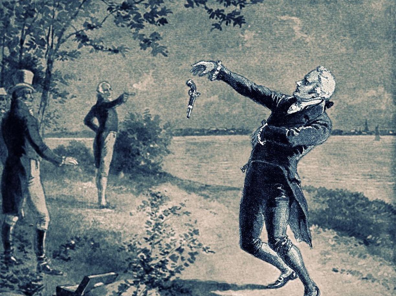 Una stampa d'epoca ricorda la morte di Alexander Hamilton in duello contro il vicepresidente Aaron Burr