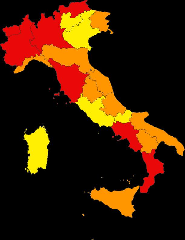 Marche Cartina Italia.Zona Rossa Zona Arancione E Zona Gialla La Mappa Dell Italia Regione Per Regione Corriere It