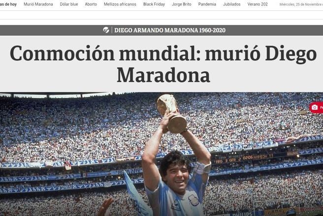 Morto Maradona, la notizia sui giornali stranieri
