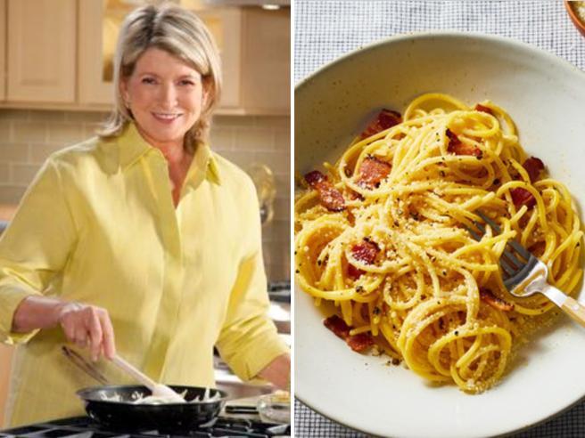 La carbonara (horror) di Martha Stewart tra vino, prezzemolo e pasta stracotta