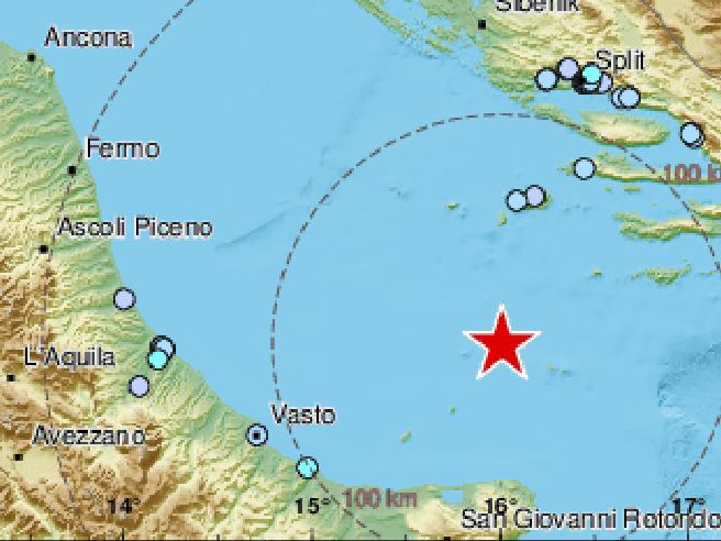 Terremoto a nord di Bari, epicentro nel Mar Adriatico: scosse avvertite fino a Napoli