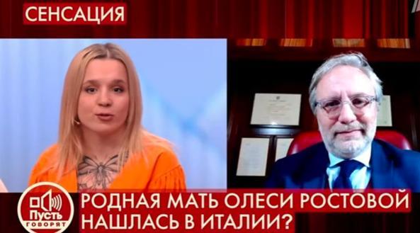 Olesya e l'avvoccato Frazzitta durante la trasmissione del programma russo