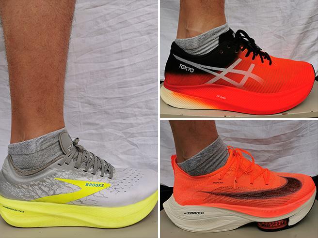 Nike Alphafly, Brooks Hyperion, Asics Metaspeed: le scarpe magiche «col tacco» alla prova del runner