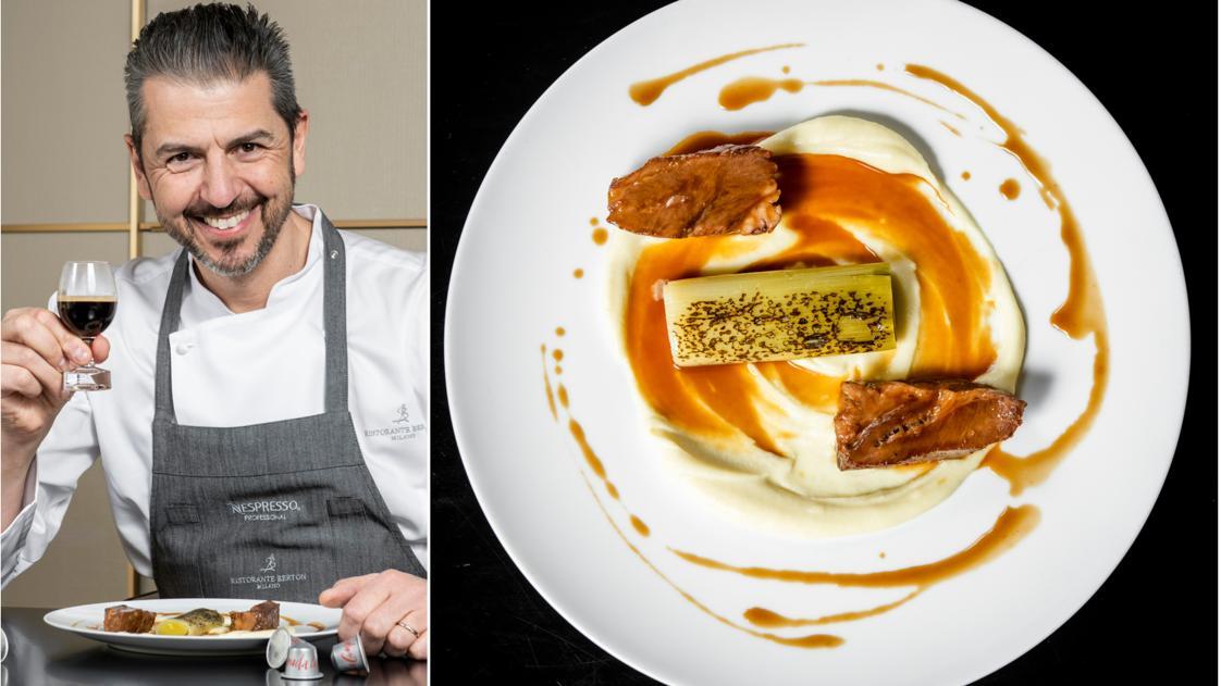 La ricetta della guancia di vitello con salsa al caffè di Andrea Berton