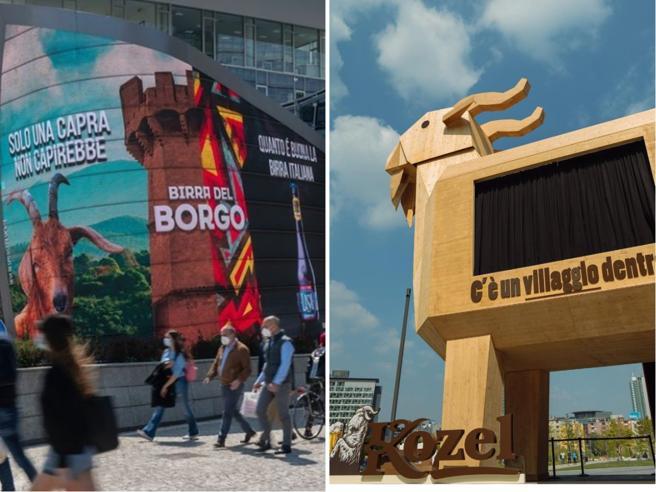 Sfida tra birre a Milano, la ceca Kozel installa un caprone e l'italiana Birra del Borgo risponde con uno sfottò