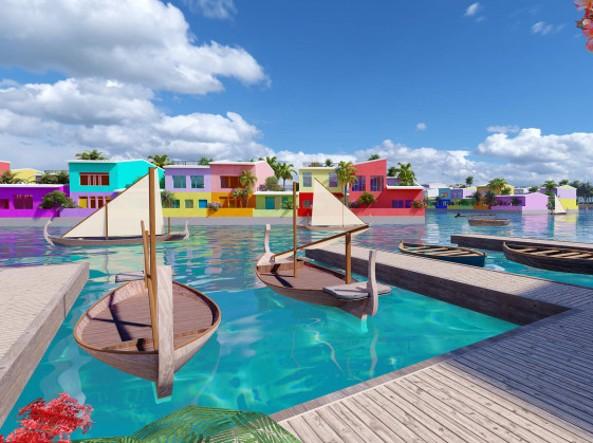Un particolare di uno degli approdi interni della nuova città galleggiante in progetto alle Maldive, tratto dal rendering al computer