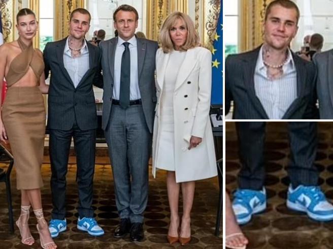 Justin Bieber ricevuto all'Eliseo da Macron (si presenta senza cravatta e con le scarpe da ginnastica)