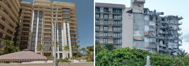 Il complesso di 12 piani  a Miami prima e dopo  il crollo