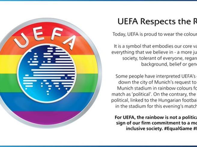 Uefa, logo arcobaleno dopo le polemiche. Bruxelles: incomprensibile aver negato i colori allo stadio