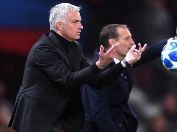 Allegri e Mourinho in una sfida internazionale tra Juventus e Man United (Getty)