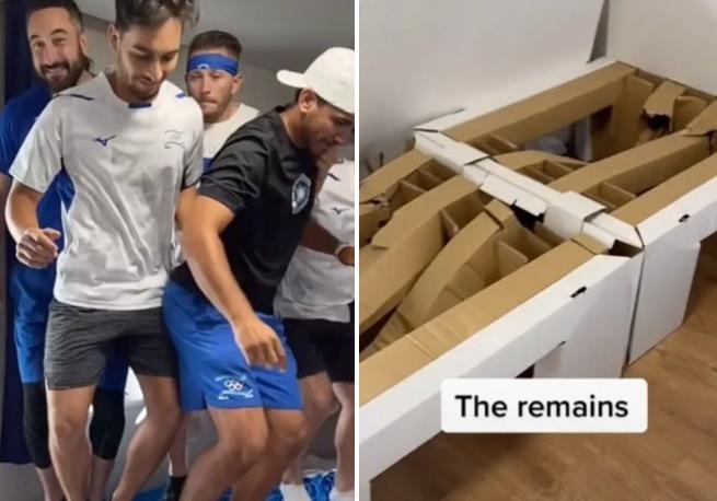 Olimpiadi di Tokyo, per rompere un letto di cartone del villaggio olimpico ci vogliono 9 atleti (che ci saltino sopra insieme)
