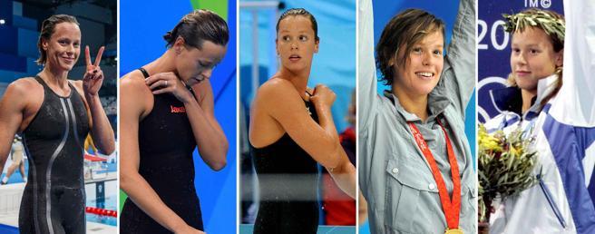 Da sinistra Federica Pellegrini alle Olimpiadi di Tokyo 2021, Rio 2016, Londra 2012, Pechino 2008 e Atene 2004