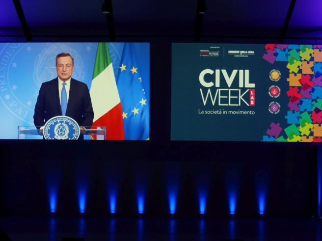 Civil Week Lab, Draghi ai volontari: «Siete portatori di conforto e speranza. L'Italia ha bisogno di voi»