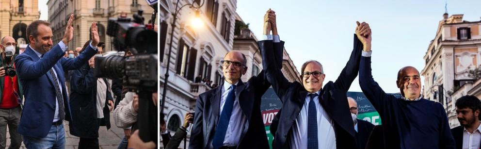 Lo Russo a sinistra  e  Gualtieri, con Letta e Zingaretti:  festeggiamenti a Torino e a Roma