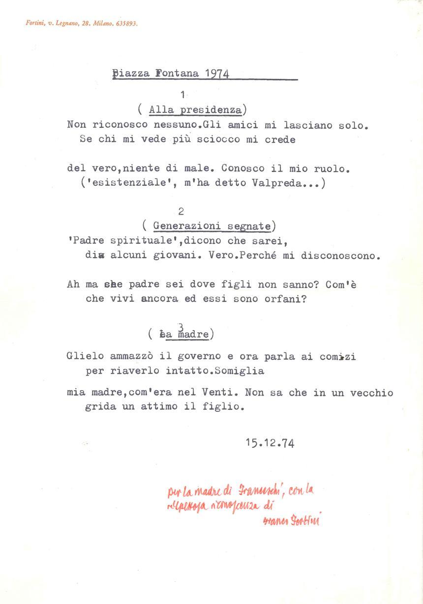 La poesia inedita dedicata da Franco Fortini a Lydia Buticchi