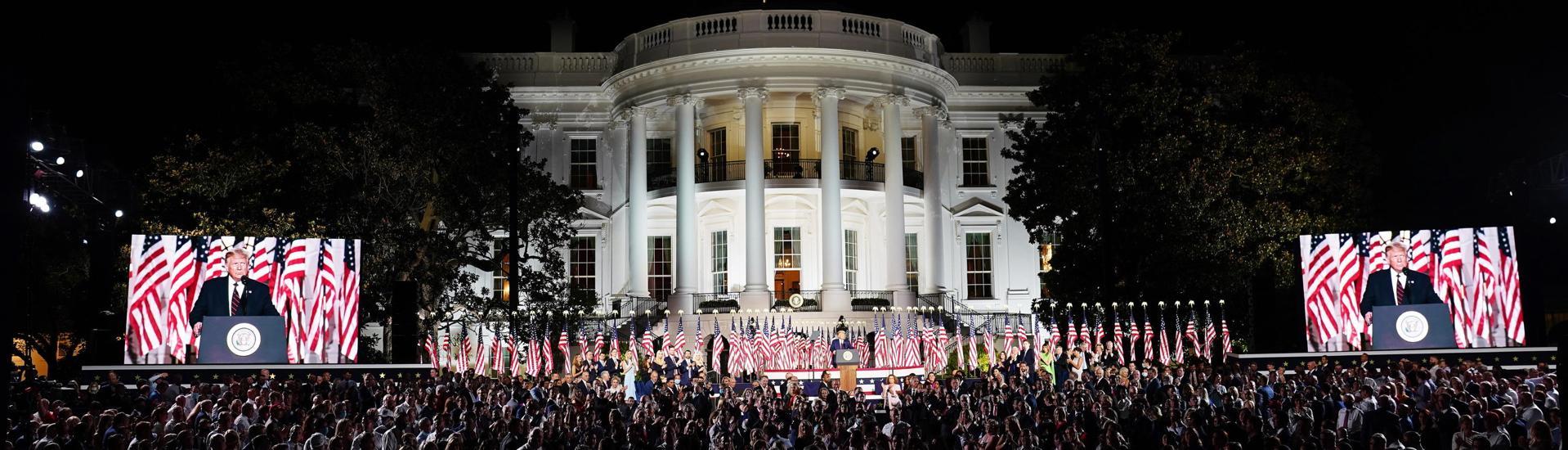Il discorso di trump alla convention repubblicana: è stato criticato per l'uso  della casa bianca, luogo istituzionale federale.  a fini elettorali