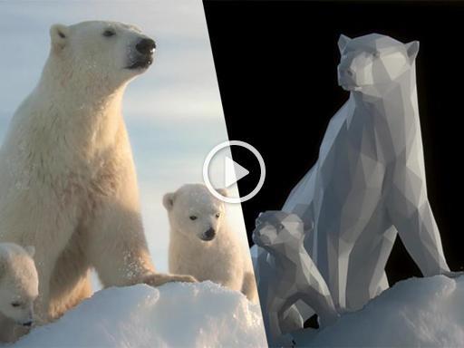 L'orso polare ricostruito in 3D per il Wwf, tanto perfetto da sembrare vero