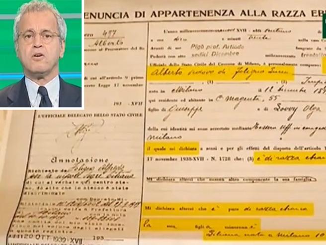 Censimento rom, Mentana mostra la schedatura della razza ebraica: «In Italia 80 anni fa cominciammo così»