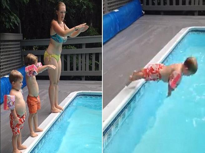 Il tuffo in piscina di questo bimbo è la cosa più bella che vedrete oggi