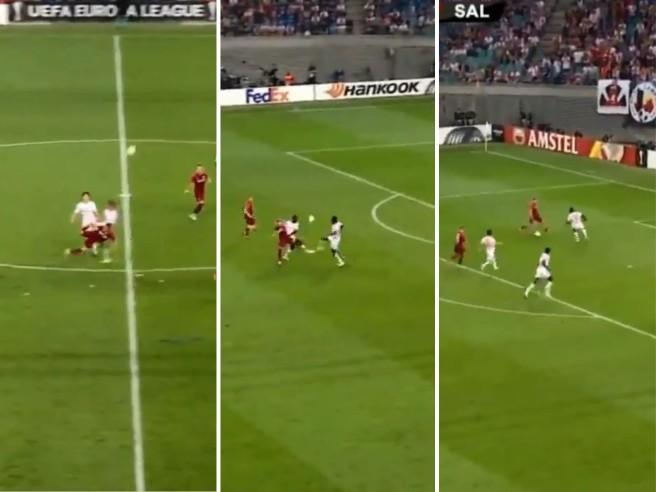 Salisburgo, il gol mai visto: colpo dello scorpione, assist di tacco e rete di Gulbrandsen