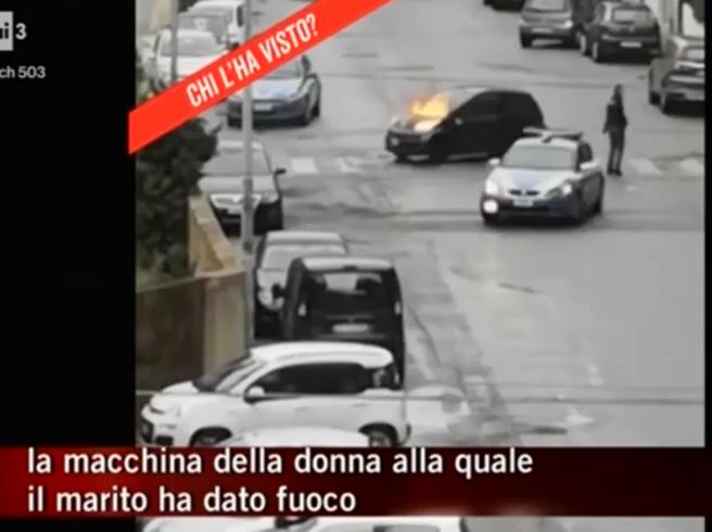 Reggio Calabria, dà fuoco all'ex moglie in auto: le immagini mostrate da «Chi L'ha Visto»