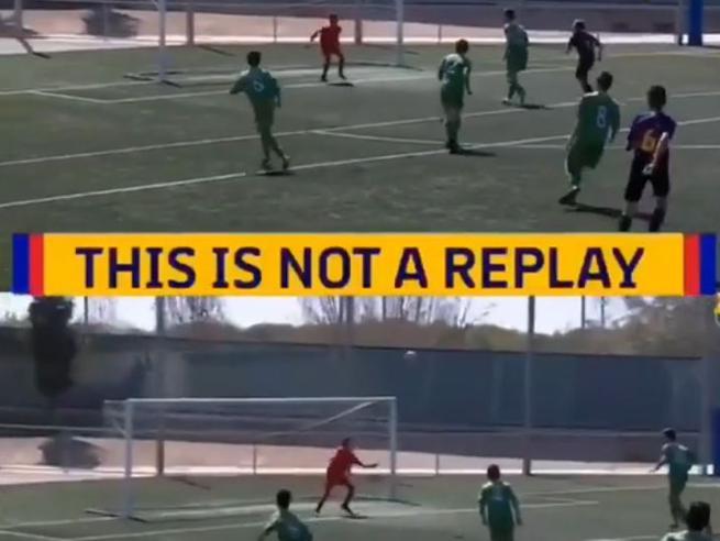 «Questo non è un replay», il gol fotocopia (nel giro di un minuto) del baby talento del Barcellona