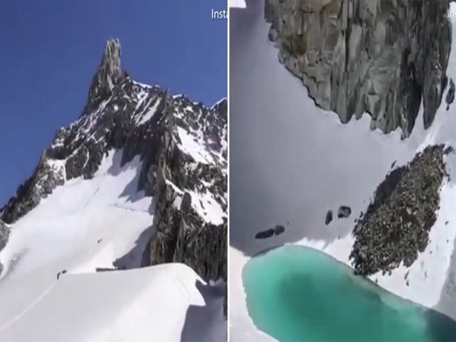Un lago sul Monte Bianco: è il ghiacciaio che si scioglie