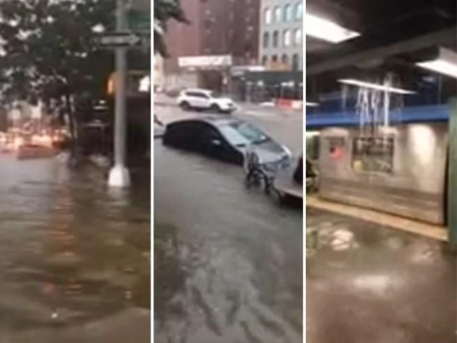 New York sott'acqua: a Brooklyn violento temporale trasforma le strade in fiumi