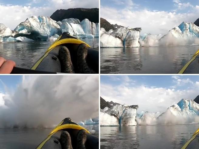 Il ghiacciaio si spacca all'improvviso: l'onda gigante travolge i canoisti