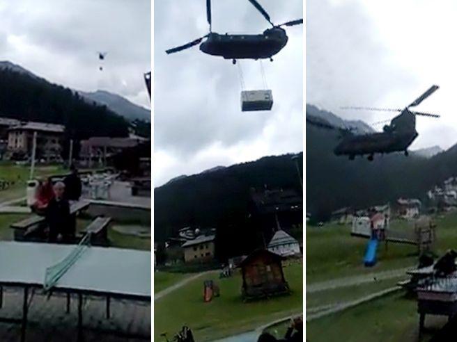 Valtellina, elicottero militare atterra in area affollata e scoperchia i tetti: ferito anche un bimbo