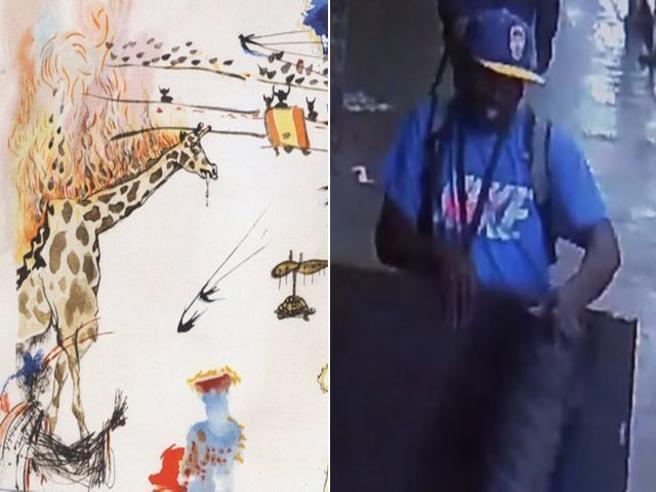 Il ladro esce indisturbato dalla galleria col dipinto di Salvador Dalí