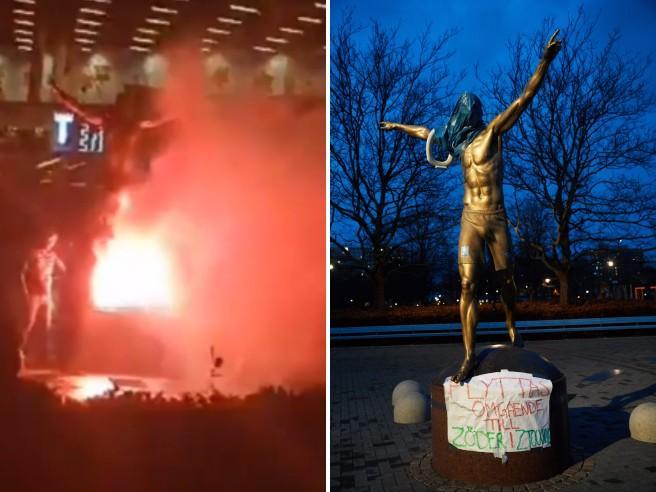 Svezia, la statua di Ibrahimovic date alle fiamme dai tifosi del Malmoe