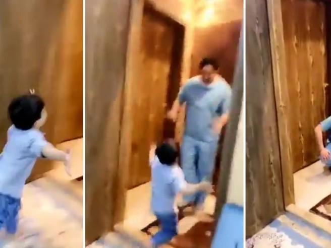 L'infermiere saudita torna a casa e crolla in lacrime perché deve rifiutare l'abbraccio del figlio
