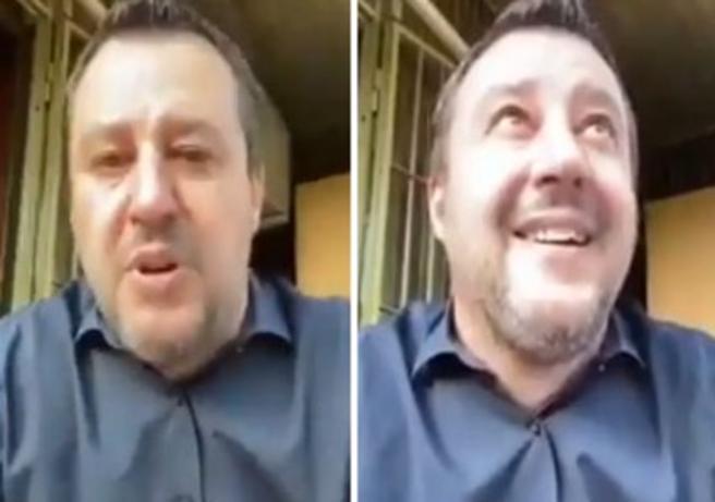 Salvini in diretta su Facebook dal balcone di casa, un vicino gli urla: «Matteo, sono stro...te»